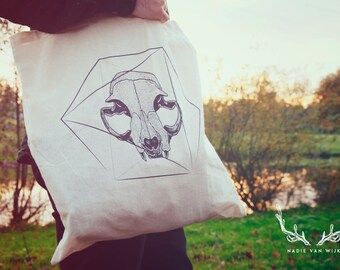 Catskull screenprinted Tote Bag, black and white, dotwork, nature print