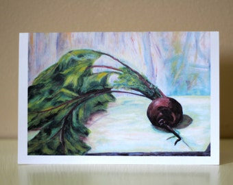 Blank 4x6 Fresh Purple Beet Greeting/Note Card, Garden/Farm Vegetable, Print of Original Oil Painting, Envelope/Cellophane Sleeve