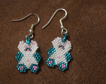 beaded teddy bear earrings