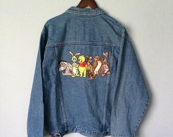 90's Disney Winnie the Pooh Embroidered Denim Jean Jacket