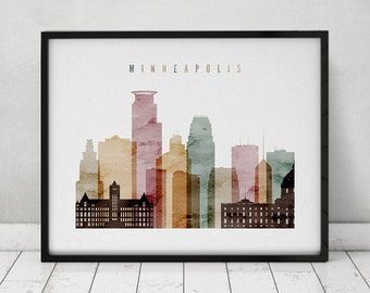 Minneapolis print, watercolor poster, Wall art, Minneapolis Minnesota skyline, travel poster Minneapolis watercolor art print ArtPrintsVicky