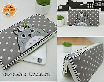 Guardian Totoro Long Wallet, Smartphone Wallet, Vegan Wallet, Bi-fold Wallet, Organizer Wallet, Zipper Clutch, Gift for Her - Made to order