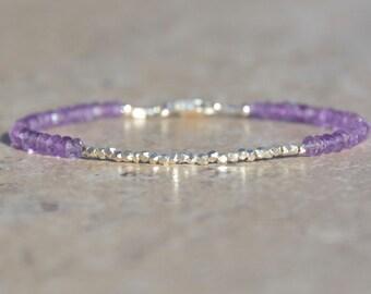 Pink Amethyst Birthstone Bracelet, Amethyst Bracelet, February Birthstone, Karen Hill Tribe, Gemstone Bracelet, Valentine's gift, Gemstone