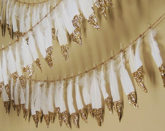 Glitter Dipped Feather Garland Banner Gold Feathers Boho Decor Baby Shower Nursery Birthday Photo Prop Backdrop Wedding Decor
