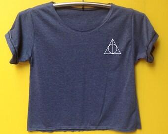 Deathly hallows shirt Harry potter shirt crop shirt Tshirt Woman'Clothing size S M L