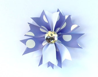 Purple and White Starburst hair bow clip