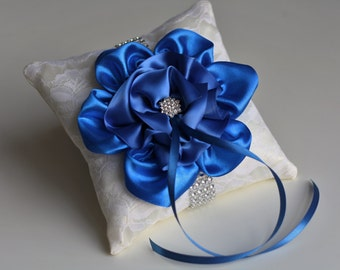 Ivory and Blue Wedding Ring Pillow \ Royal Blue Ring Bearer Pillow / Cobalt Blue Ring Holder / Ivory Lace Pillow with Blue Flower