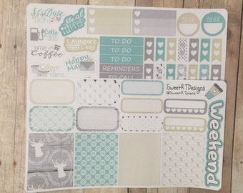 "Small Weekly Planner Sticker Kit ""Shabby Chic Winter"""