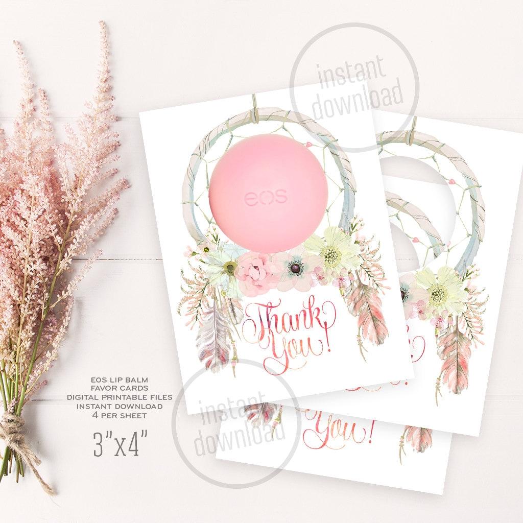 Dreamcatcher EOS lip balm baby shower favor card birthday