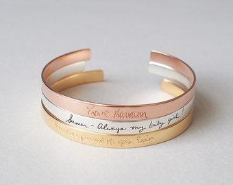 Personalized Custom Cuff Bracelet - Handwriting Cuff Bracelet / Signature Cuff / Open cuff / Memorial Jewelry - HB10