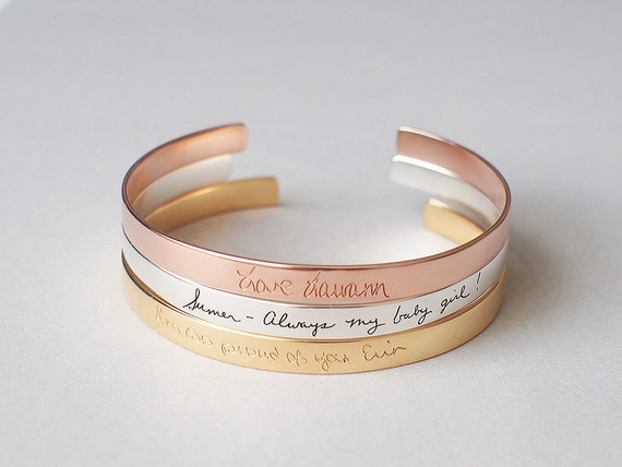 Personalized Custom Cuff Bracelet Handwriting Cuff Bracelet