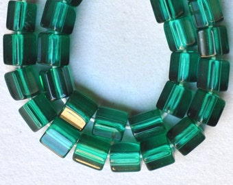 5 Sided Czech Glass Beads - 6mm x 6mm - Emerald Green - Qty 25