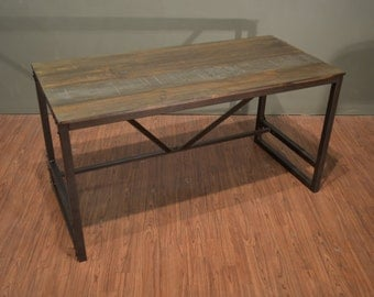 Rustic Industrial Style Solid Wood Writing Desk Library Table with Iron Base