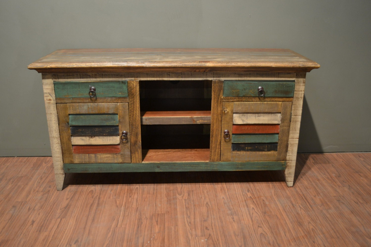 rustic reclaimed wood 60 inches wide tv stand media console. Black Bedroom Furniture Sets. Home Design Ideas