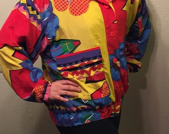 Colorful Button Up Jacket