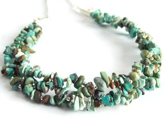 Chunky Turquoise Necklace, Big Bold and Beautiful Statement Necklace