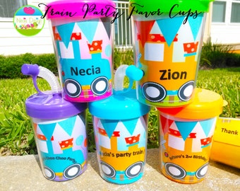 CHOO CHOO Train Personalized Party Favor Cups Set of 6, Train cups for favors. Party, Railroad Train, Train for Boys & Girls, Party Favors