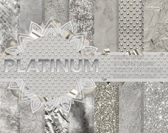 Platinum Steamless Pattern Silver White Digital Paper Background Glossy Glitter Metallic Foil Leather Marble Linen Tile Sparkling Textures