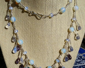Opalite moonstone necklace, silver necklace, hand wrapped necklace