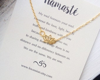 Lotus Necklace, gold lotus flower necklace, gold lotus necklace, tiny lotus necklace, namaste necklace, yoga jewelry, 14K gold plated