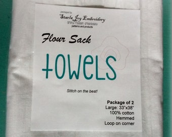 2 Pack Flour Sack Tea Towels to Embroidery-White
