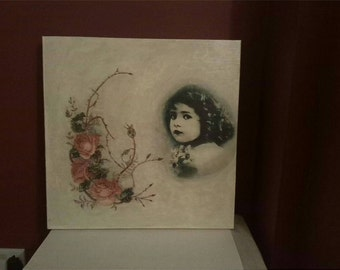 Mixed media girl and roses canvas