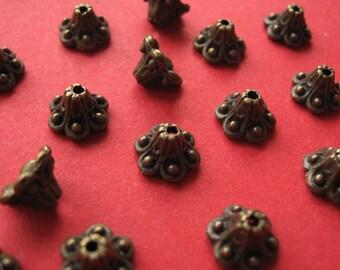 25 piece stainless bead caps-bronze