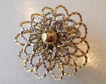 Vintage Mid-Century Sandor Signed, Silver and Gold Tones Dimensional Floral Brooch.