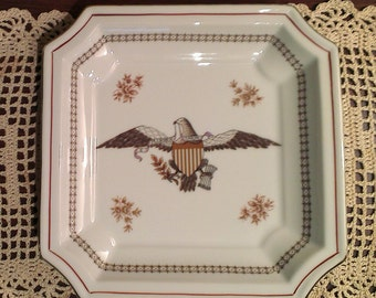 American Eagle Decorated Porcelain Plate - E Pluribus Unum - Andrea by Sadek (1990s)