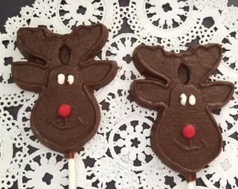 REINDEER CHOCOLATE LOLLIPOP - Christmas Rudolph Lollipop/Stocking Stuffer/Holiday Party Favor