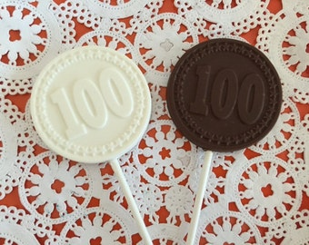 "Number ""100"" Chocolate Lollipops(12 qty) - 100th Birthday Party - 100th Anniversary Party- 100th Celebration - Number 100 Party Favor"