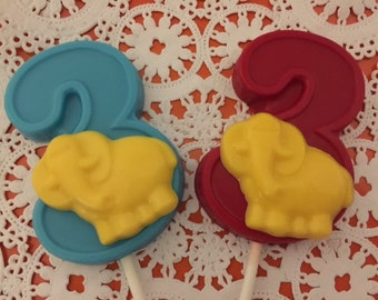 """NUMBER THREE """"ELEPHANT"""" Chocolate Lollipops(12 qty) - Baby Elephant Favors/Third Birthday/Safari Theme/Zoo Animals/Party Favors/Baby Animals"""