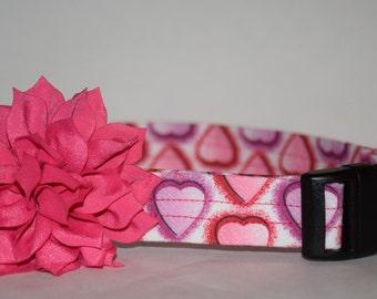 Valentine's Day Dog Collar –   Pink & Purple Hearts Dog Collar – Valentine's Day Dog Collar – Handmade Fabric Dog Collar