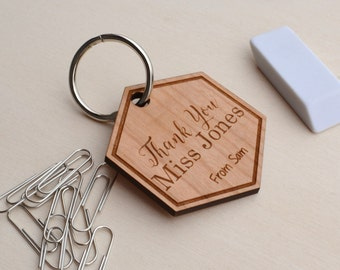 Personalised Thank You Teacher Key Ring