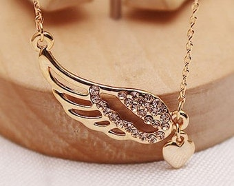 Golden Angel Wing Necklace with Heart / Cute Love Pendant / Kawaii Wings Necklace