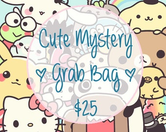 XL Cute Kawaii Mystery Grab Bag / Bag Filled with Cuteness & Kawaiiness / Stationery Grab Bag / Stationary Grab Bag / Kawaii Stationery Bag