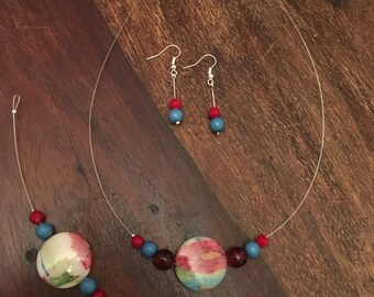 Handmade necklace, bracelet and earring set