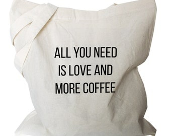 Coffee Quote Bag - Coffee Quote Tote Bag - Quote Tote Bag (coffee quote 5)
