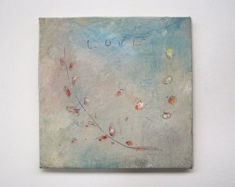 shabby chic, wall decor, wall art, abstract painting, square painting, wall hanging,