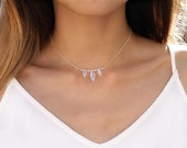 Pre-order SALE 27% Off: Moonstone Choker, Rainbow Moonstone Marquise Necklace, Silver, Statement Choker,Festival Jewelry,June Birthstone