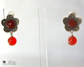 Sterling Silver Textured Flower Posts Featuring Faceted Metallic Marcasite Stones,Carnelian Center and Hanging Carnelian , 1 inch