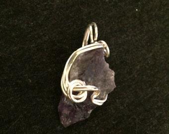 Uncut Purple Amethyst Wire Wrap, Necklace Pendant