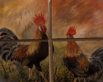 wall art. roosters. original