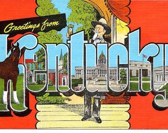 """Greetings from Kentucky Vintage Post card 2"""" x 3"""" Magnet"""
