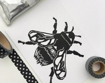 Bee Linocut Greeting Card. Bumblebee Linoprint Notecard. Original Hand Pulled Print. Blank Bee Notecard. Insect Print. Bee birthday Card