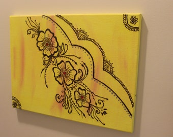 Flower Henna Wall Art Textured Painting, Moroccan Wall Art, Henna Painting, Arab Art, Oriental Wall Art, On Line Gallery,