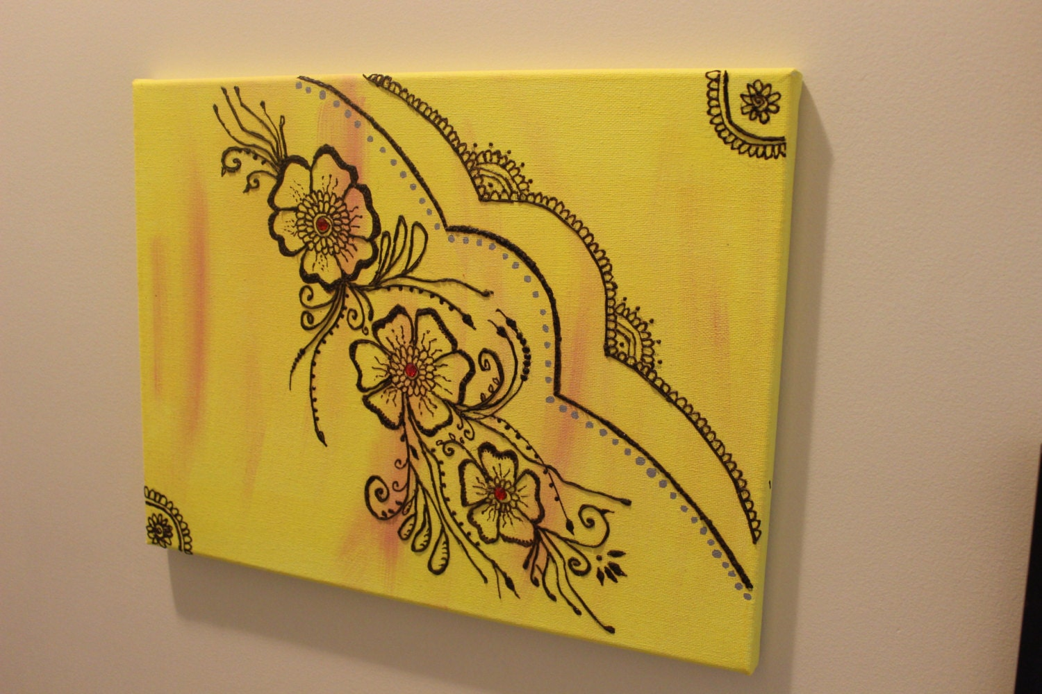 Mehndi Wall Decoration : Flower henna wall art textured painting by moroccanhennaart