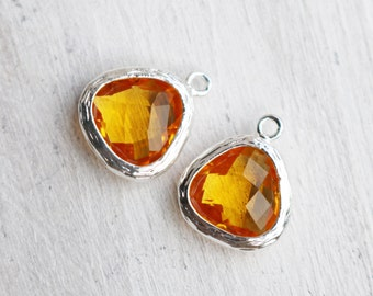 Citrine Yellow Charm, Framed Charm, Teardrop Charm, Triangle Charm, Glass Charm, Birthstone Charm, November Stone,