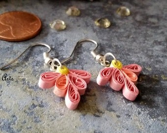 Quilled dangle earrings, dainty designs, perfect little gift for anniversary/ bridesmaid/ mother's day, paper jewelry