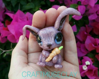 Baby bunny with carrot polymer clay figure//gifts for her//rabbit//whimsical//woodland//collectible